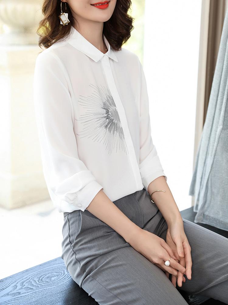 休闲打底雪纺白色衬衫女长袖2018秋装新款职业女士衬衣韩范上衣