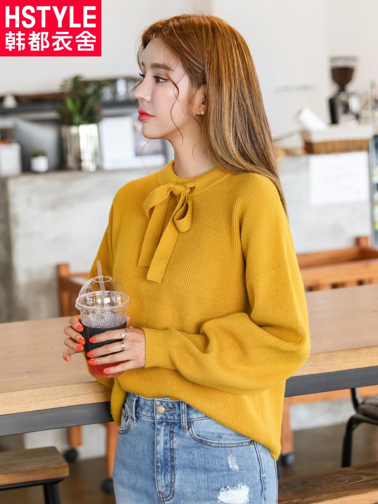 韩都衣舍2018秋装新款女装韩版系带纯色套头毛衣针织衫JM9203蒖