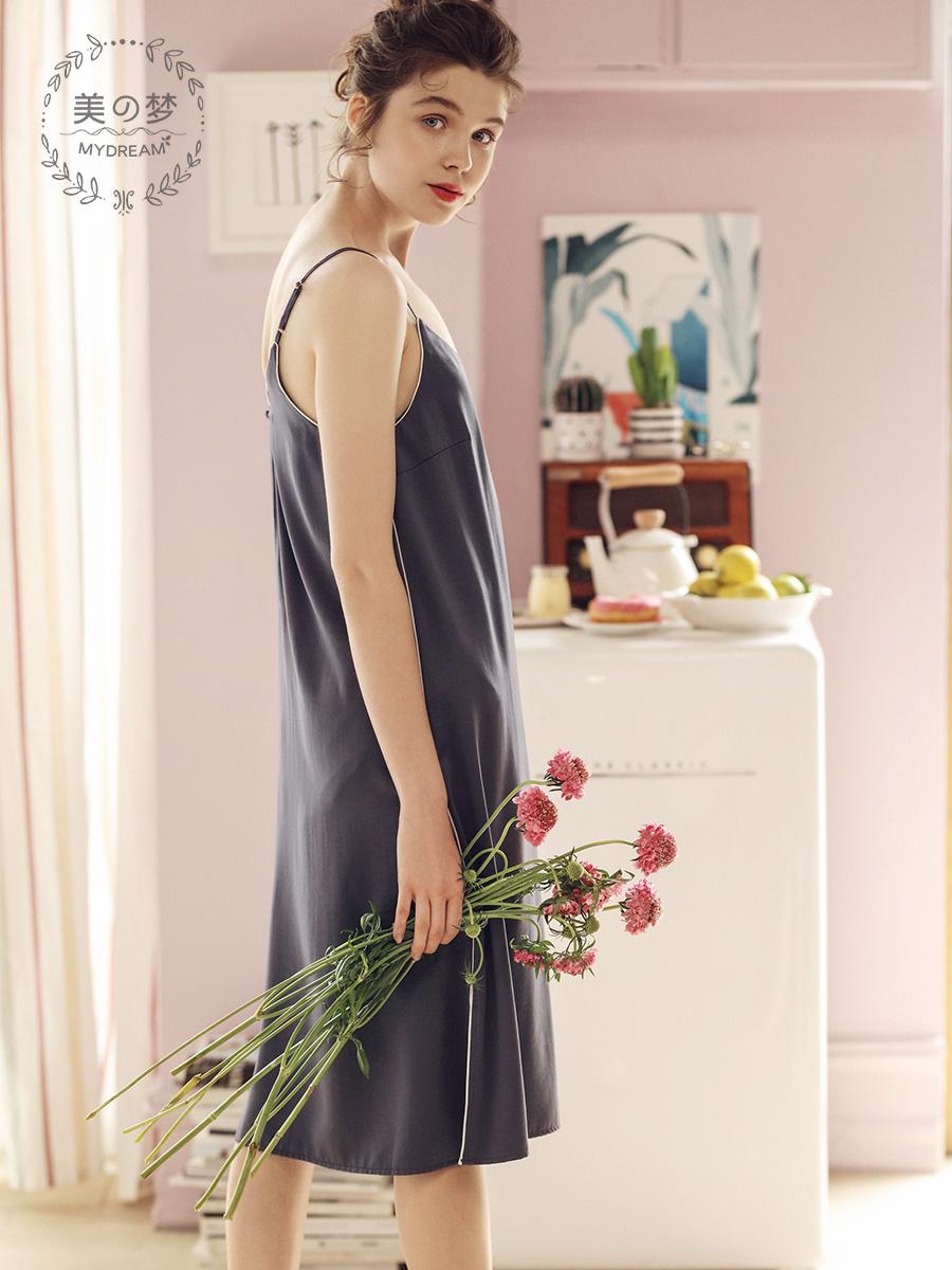 美梦夏季新款冰丝睡裙女夏性感吊带睡衣裙中长款可爱女生丝绸裙
