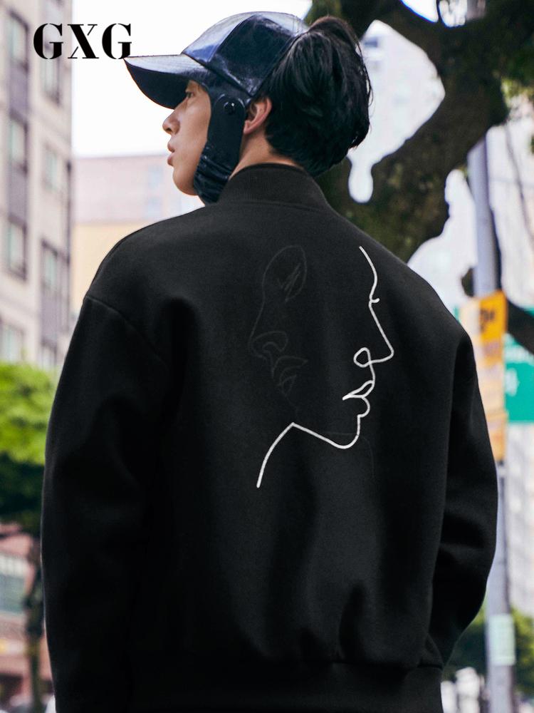 GXG男装 夹克男秋季新款韩版潮流港风chic棒球服毛呢夹克外套男士