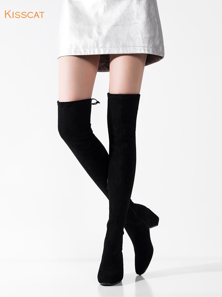 接吻猫2018秋冬新款羊绒后系带超高显瘦粗跟过膝长靴女DA97597-52