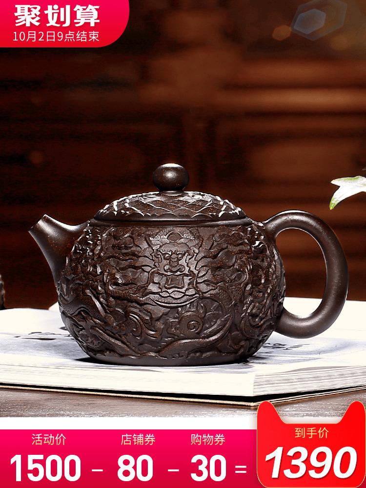 藏壺天下宜興名家紫砂壺純全手工原礦黑金砂泥浮雕西施壺茶壺茶具