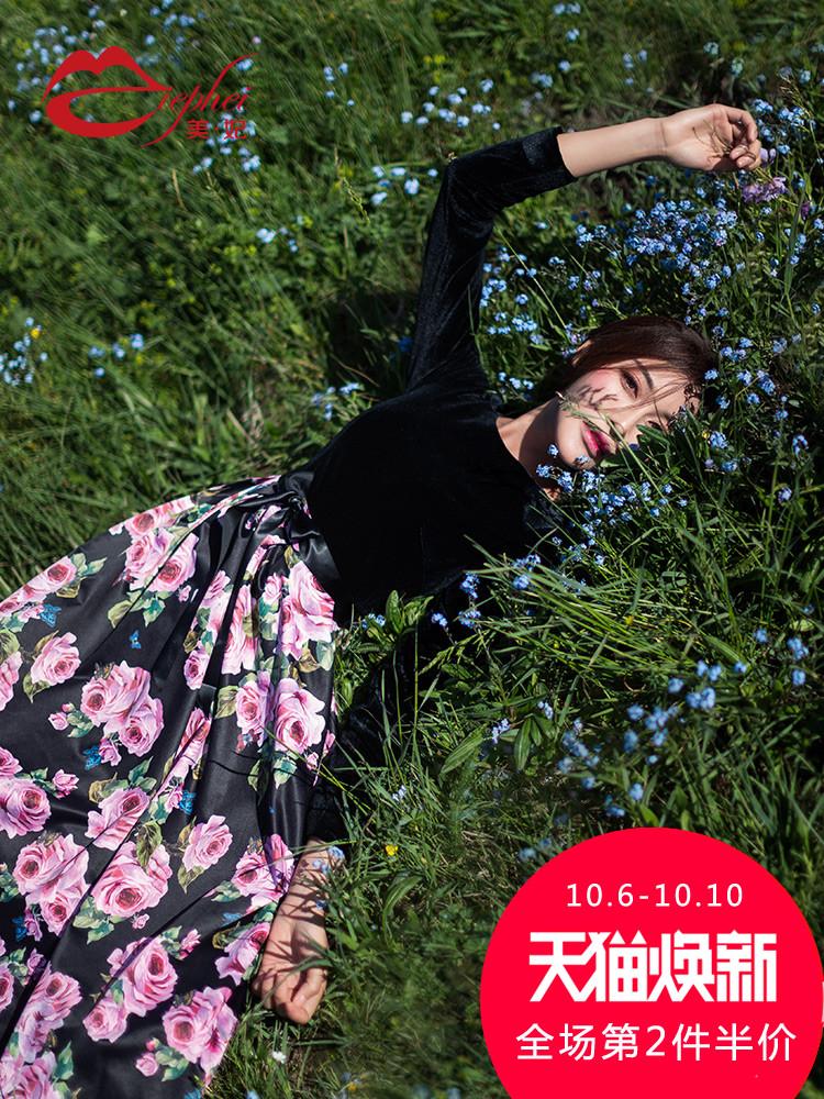 长袖连衣裙女秋季2018新款时尚气质印花名媛显瘦中长款a字裙7891