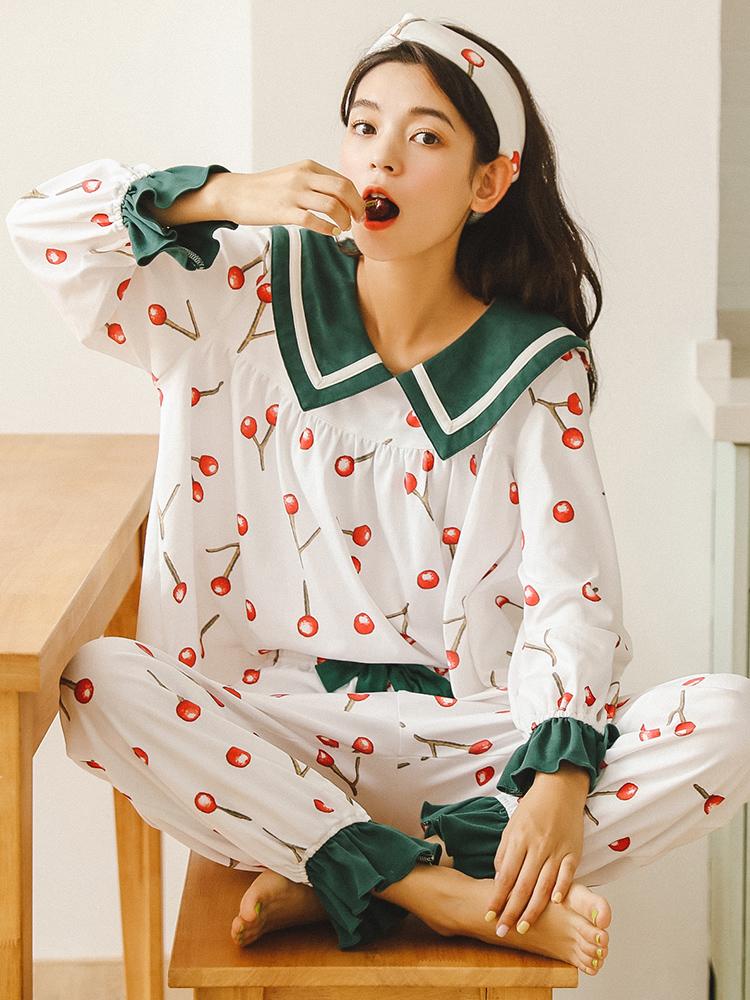 睡衣女春秋季纯棉长袖韩版学生清新可爱甜美可外穿套装家居服夏