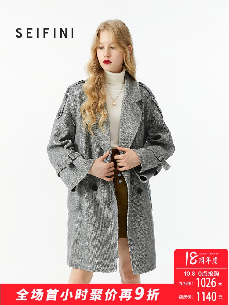 诗凡黎冬装新款韩版潮中长款羊毛大衣复古学生双面呢女装外套