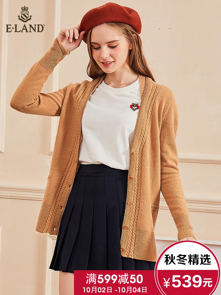 ELAND2018秋季新款淑女气质麦穗花纹单排扣针织开衫EECK88V01I