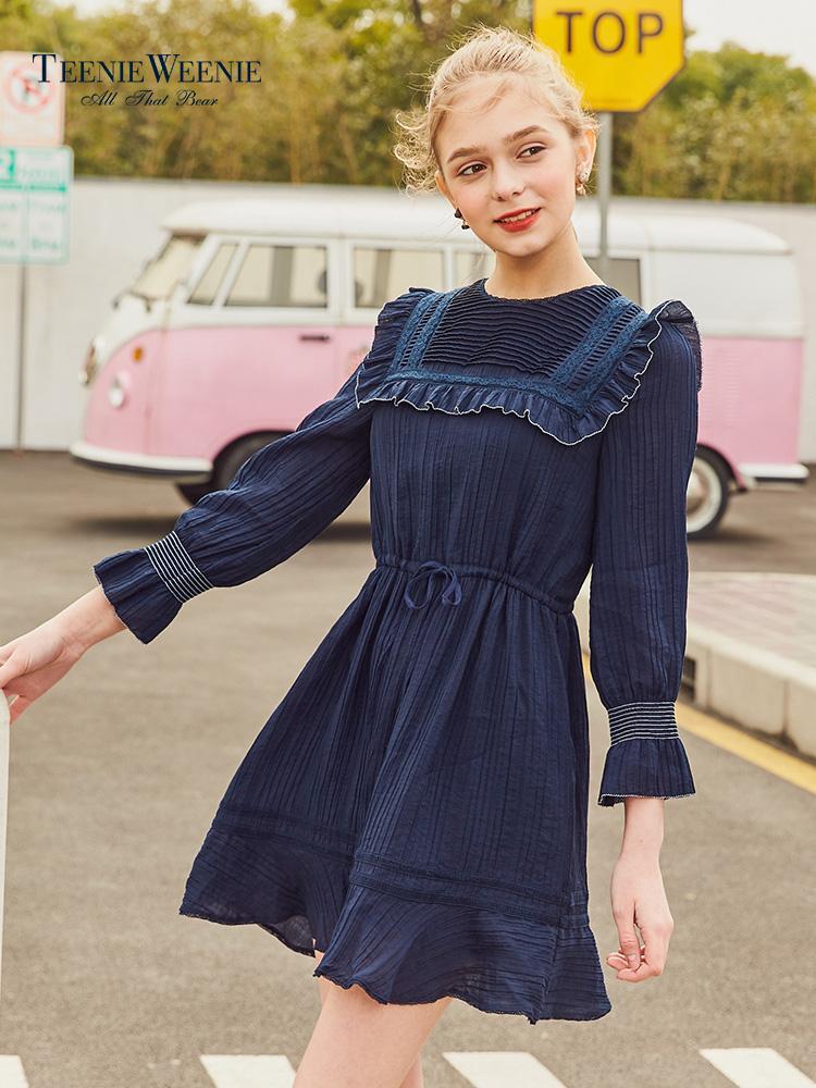 Teenie Weenie小熊2018夏装新款女装连衣裙中长裙TTOW82351W