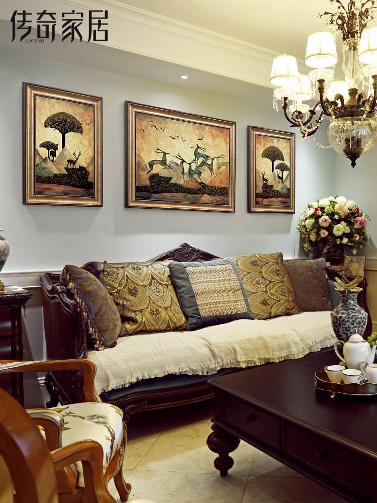 客厅沙发背景墙挂画 美式三联画美式手绘油画麋鹿 现代装饰画墙画