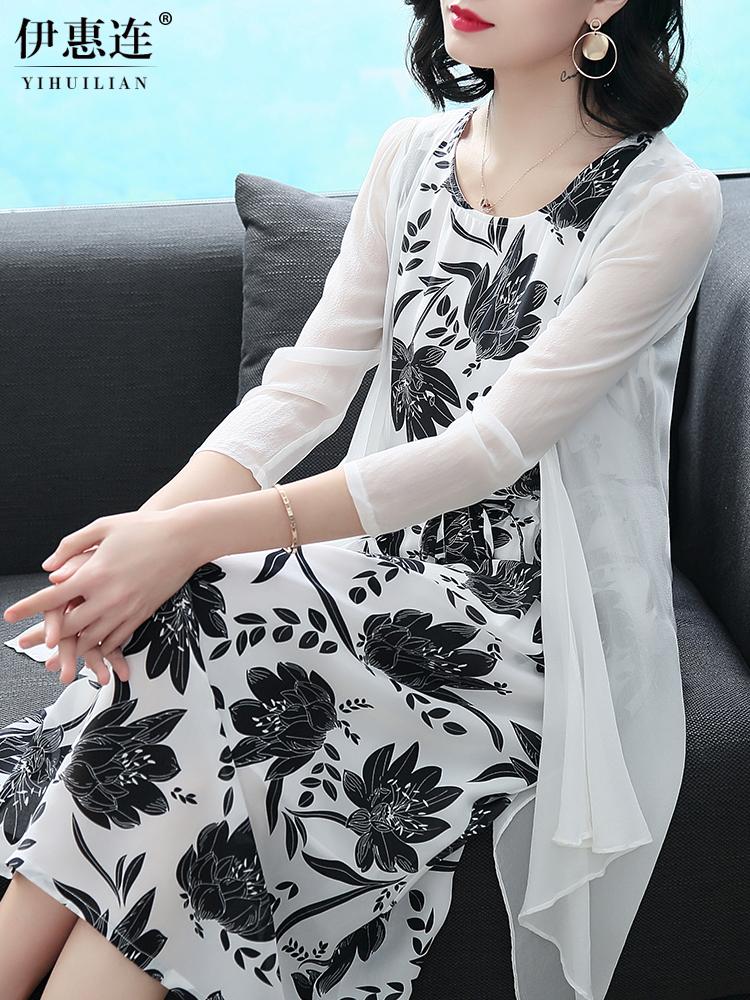真丝连衣裙女夏季2018新款大牌女装中长款印花桑蚕丝两件套装裙子