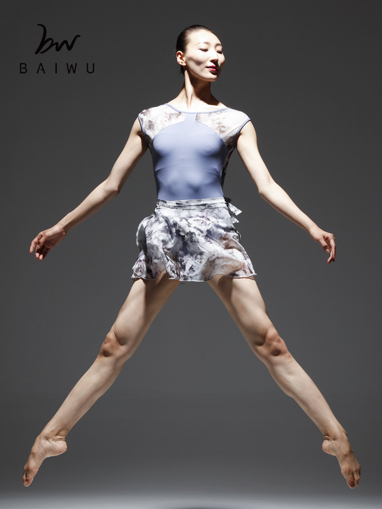 柏屋舞苑 新款芭蕾舞蹈体服外搭纱裙 复古印花网纱裙一片裙女成人