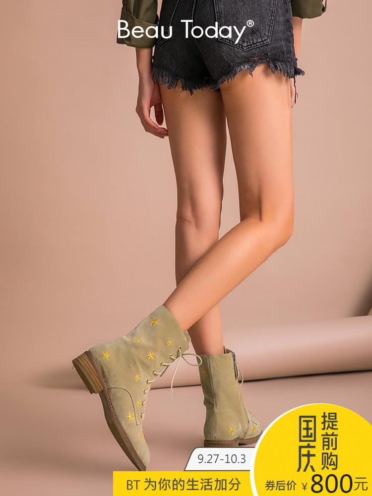 BT2018新款女鞋粗跟马丁靴女秋冬季真皮短靴单鞋靴子女英伦风平底