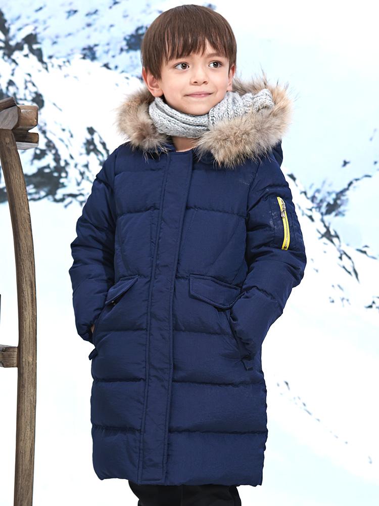 七匹狼童装男童羽绒服2018新款冬季儿童中长款保暖厚款中大童
