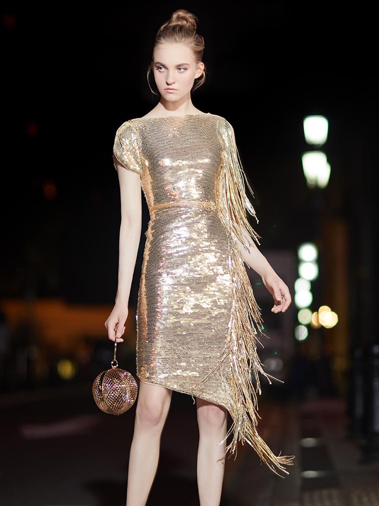 晚礼服女2018新款宴会小礼服金色亮片生日聚会派对礼服连衣裙7523