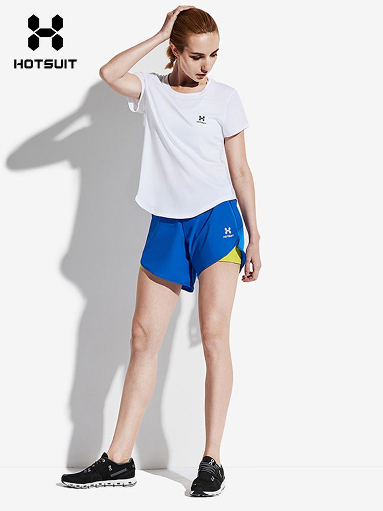 美国HOTSUIT短袖女2018春夏季新款运动T恤薄款透气圆领跑步上衣女