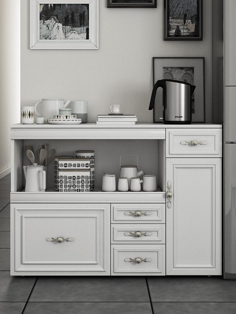 欧式餐边柜 储物收纳碗柜 现代简约酒柜微波炉柜子厨房家具置物柜