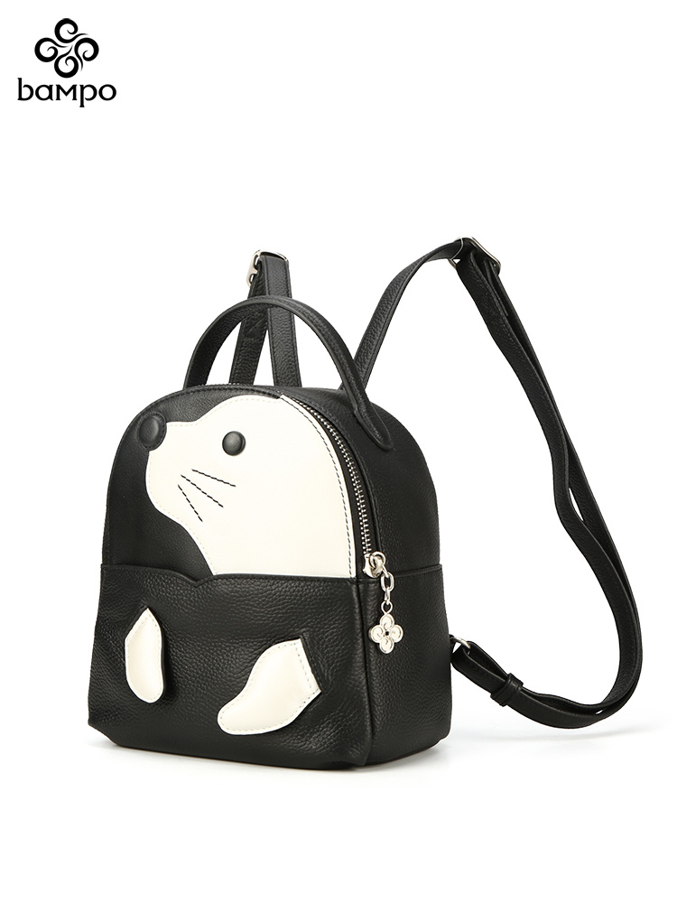 半坡新款双肩包原创真皮可爱动物包头层牛皮休闲背包旅行包包女
