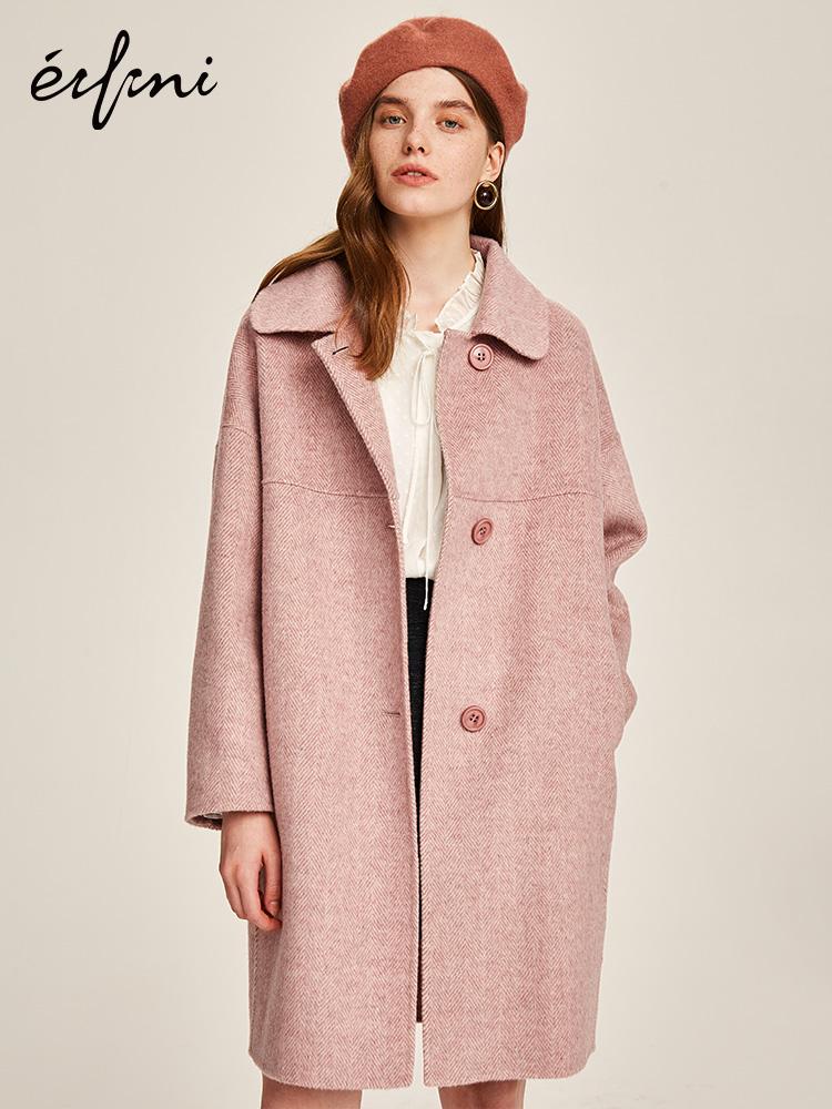 100%羊毛伊芙丽2018冬装新款韩版宽松中长款毛呢外套双面呢大衣女