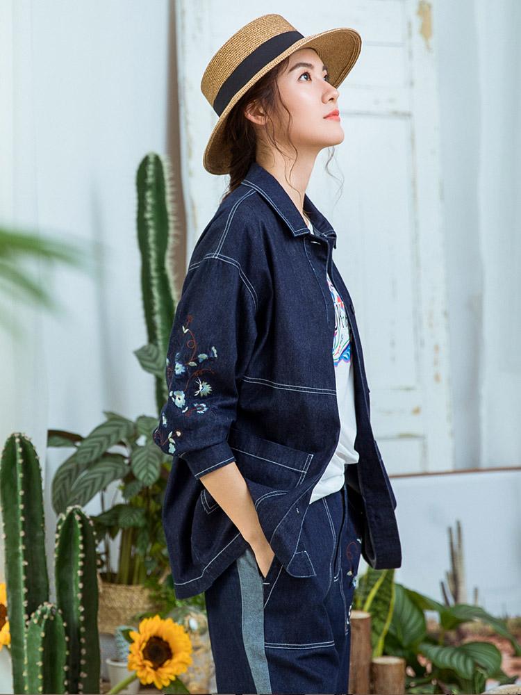 Pukka蒲牌全棉刺绣长袖牛仔外套女原创设计大码女装2018秋装新款