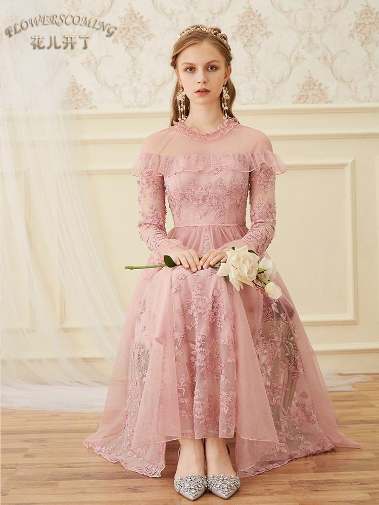 花儿开了秋装女2018新款网纱刺绣连衣裙立体花瓣中长款仙女裙复古