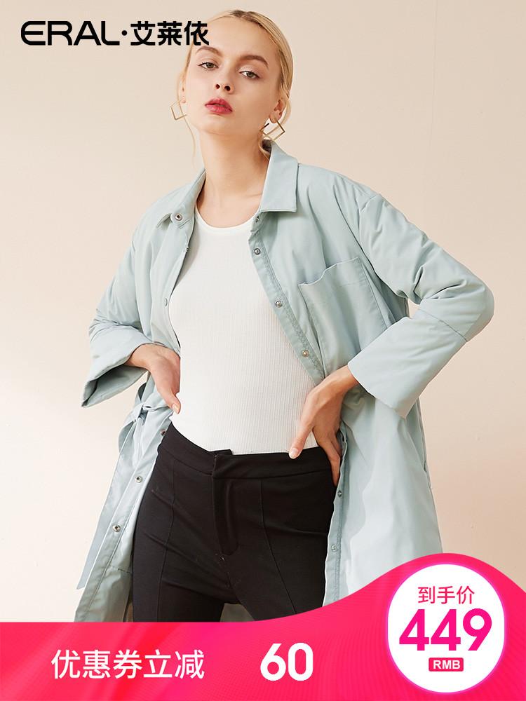 ERAL-艾莱依2018冬季新款韩版衬衫式修身羽绒服女中长款617103041