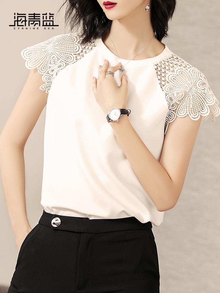 海青蓝2018夏季新款休闲短袖T恤气质镂空拼接直筒显瘦上衣女02134