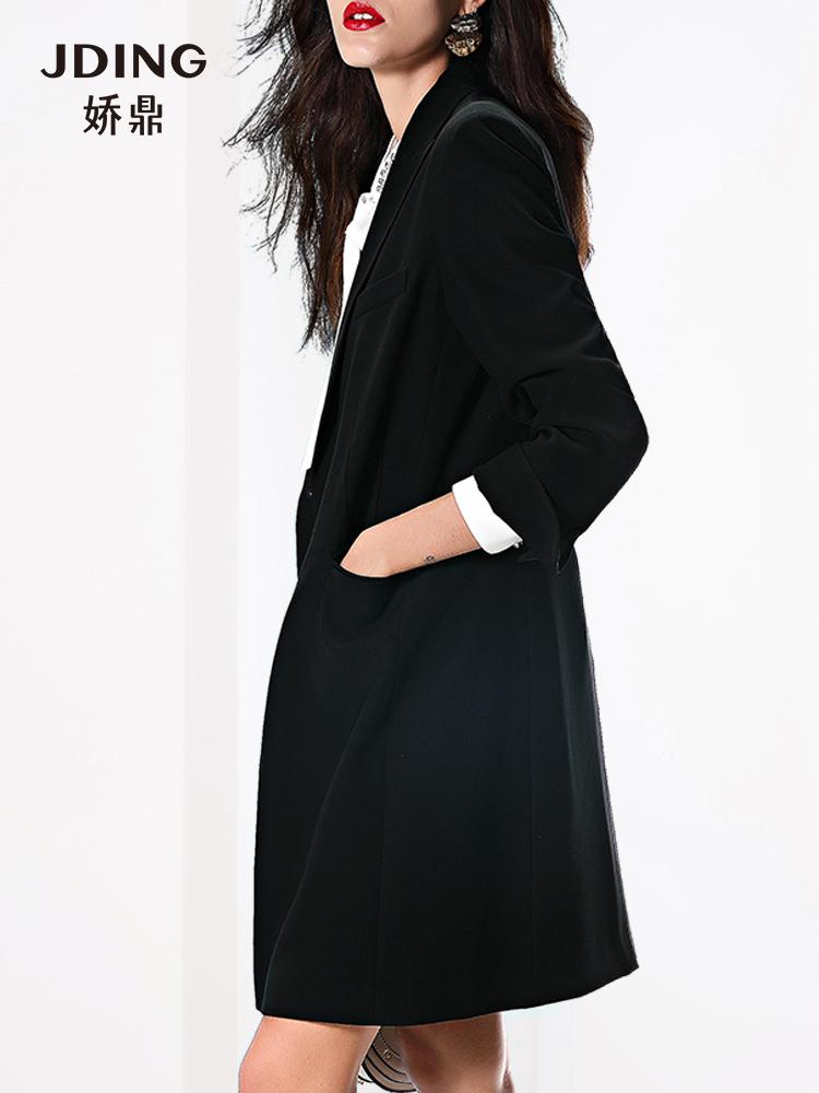 娇鼎2018秋装新款黑色气质韩版西服上衣女职业西装外套女中长款