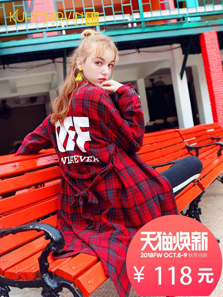 中长款红黑格子衬衫女chic2018秋装新款韩版宽松bf学院风学生外套