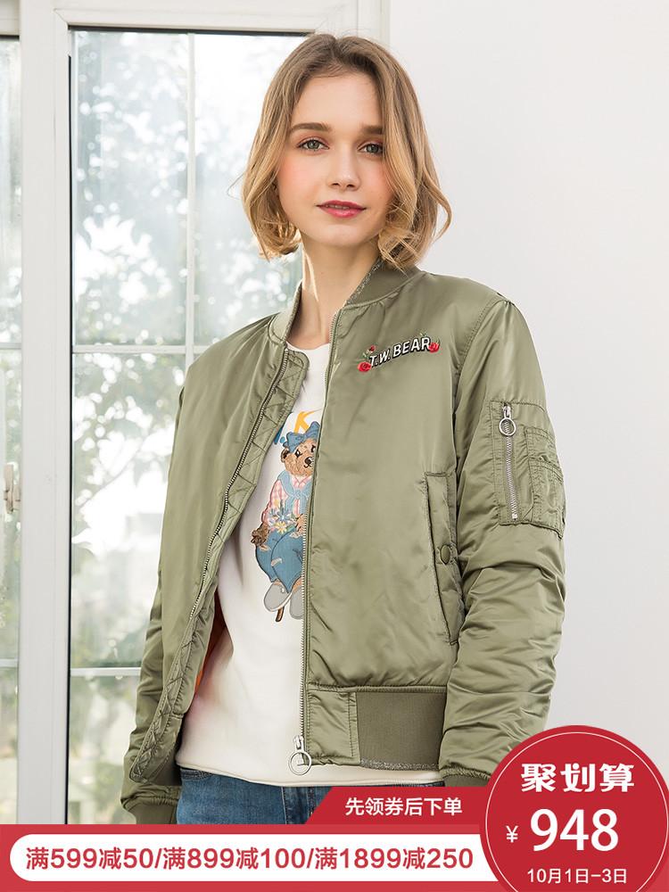 Teenie Weenie小熊2018春装新款女装短飞行员外套TTJP81103B