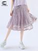 COCOBELLA紫色蕾丝半身裙女复古风镂空中长款百褶裙伞裙DS947