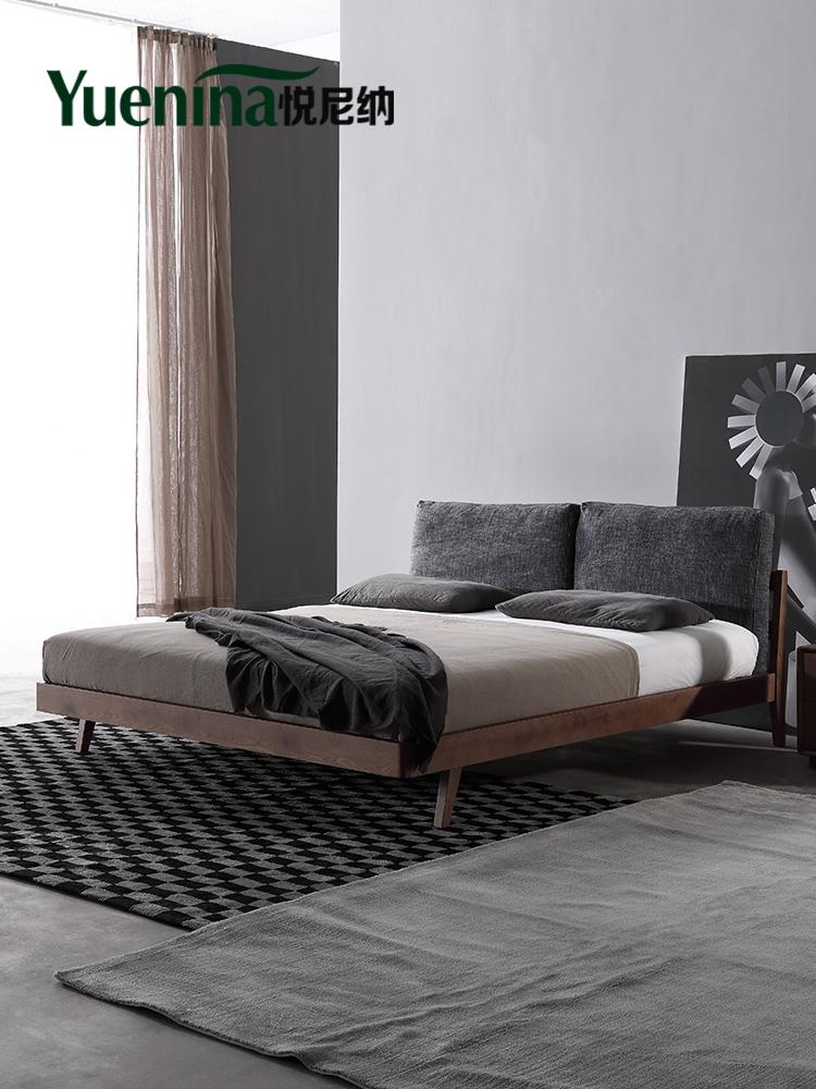 悦尼纳 北欧实木床1.8米1.5米现代简约单双人床简易主卧 实木床