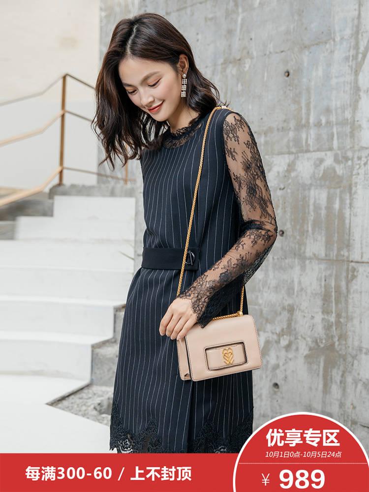 3】Doublelove女装2018早秋新款蕾丝拼接收腰条纹优雅圆领连衣裙