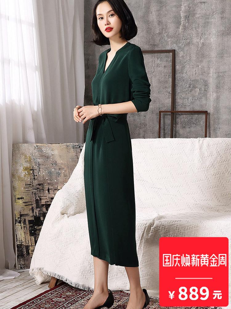 AIMITAG2018春新款V领系带收腰重磅真丝连衣裙女纯色桑蚕丝裙子