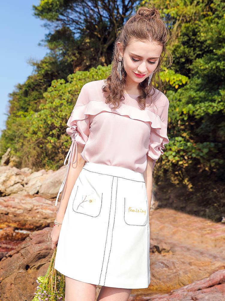 辛格茜 圆领t恤女2018夏季新款纯色短袖上衣韩版宽松甜美绑带小衫