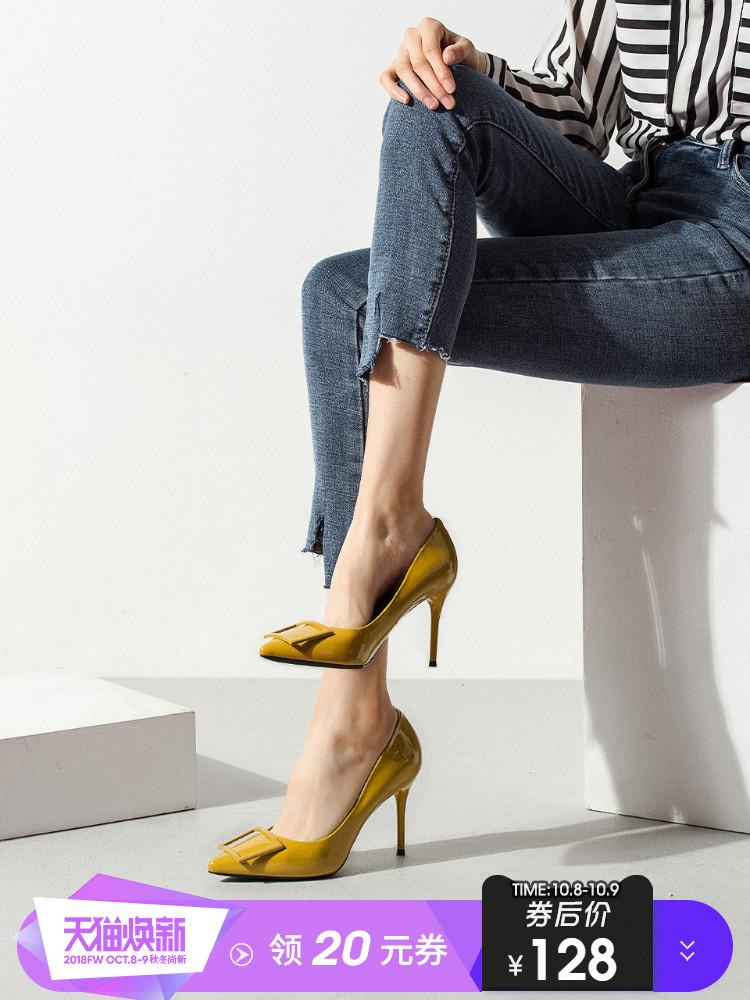 一代佳人黑色高跟鞋女细跟2018春季新款方扣浅口百搭高跟单鞋尖头