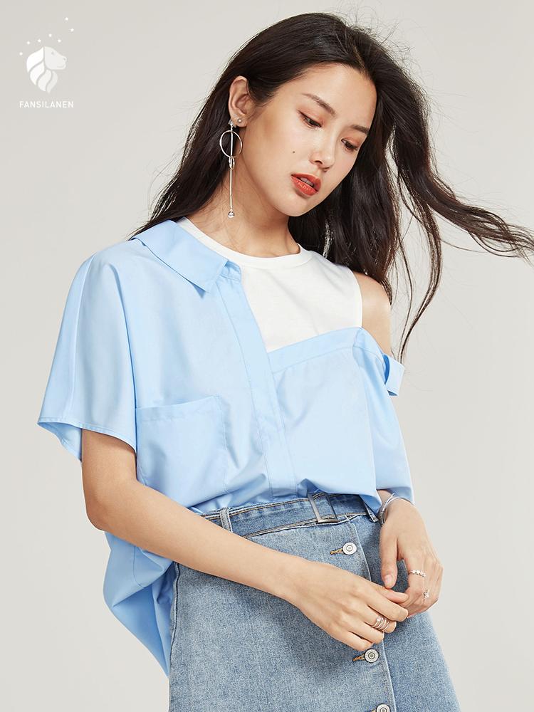 范思蓝恩露肩衬衫女夏季2018新款假两件上衣不规则心机衬衣设计感