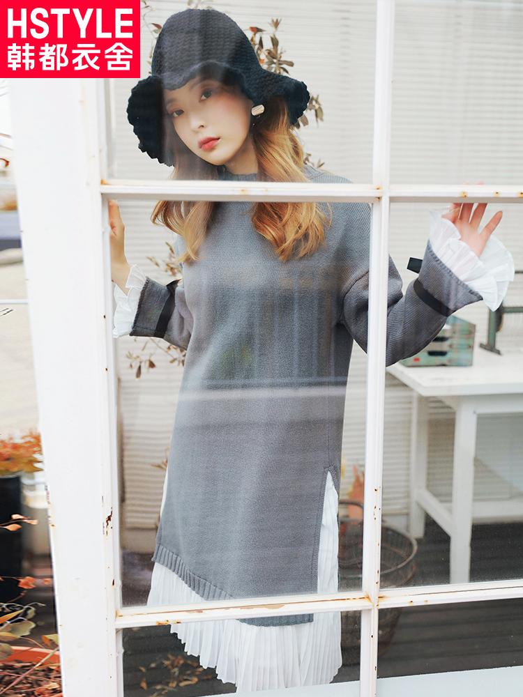 韩都衣舍2018秋装新款韩版女装雪纺拼接针织长袖连衣裙女OR6957槿