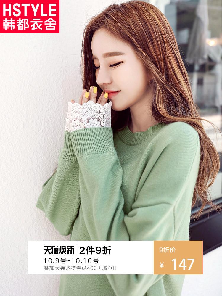 韩都衣舍2018秋装新款女装韩版宽松圆领蕾丝毛衣针织衫GW9877阨