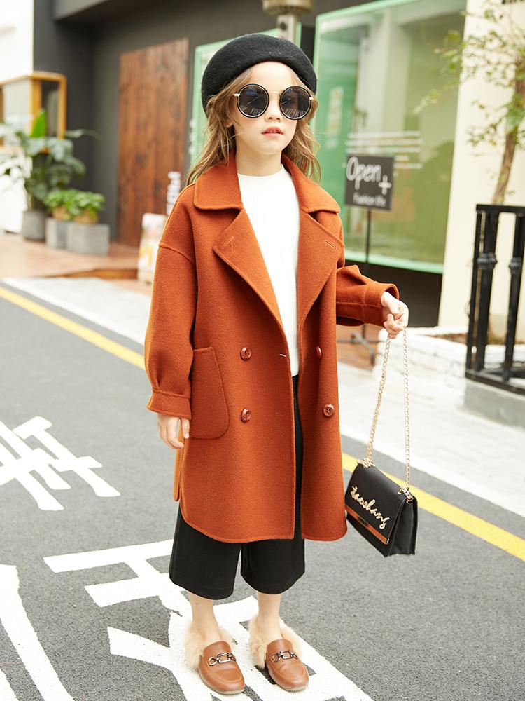 女童羊绒大衣儿童双面呢中长款秋冬季韩版大童装洋气羊毛呢子外套