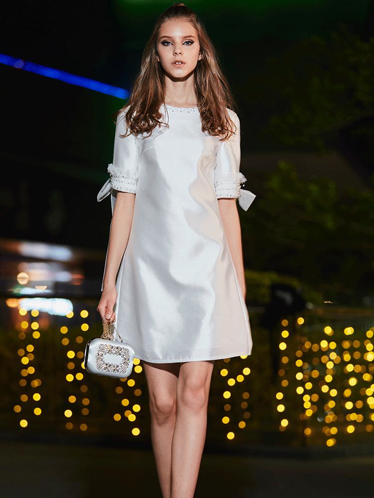 礼服裙女2018新款秋装礼服宴会白色短款名媛洋装小礼服连衣裙7385