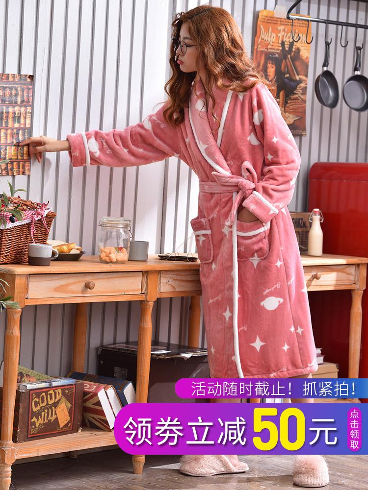 睡袍女冬珊瑚绒睡衣女加厚加长款韩版时尚条纹冬季法兰绒浴袍冬天
