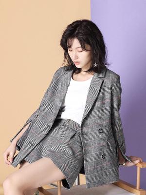 女士复古格纹小西装套装女英伦风格子chic西服韩国外套韩版休闲春