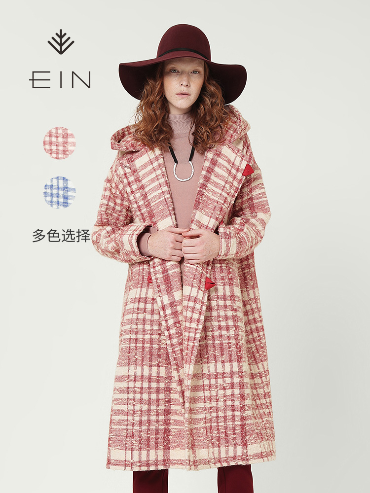 EIN-言羊毛毛呢大衣复古妮子流行格子大衣2018秋冬新款冬季外套女
