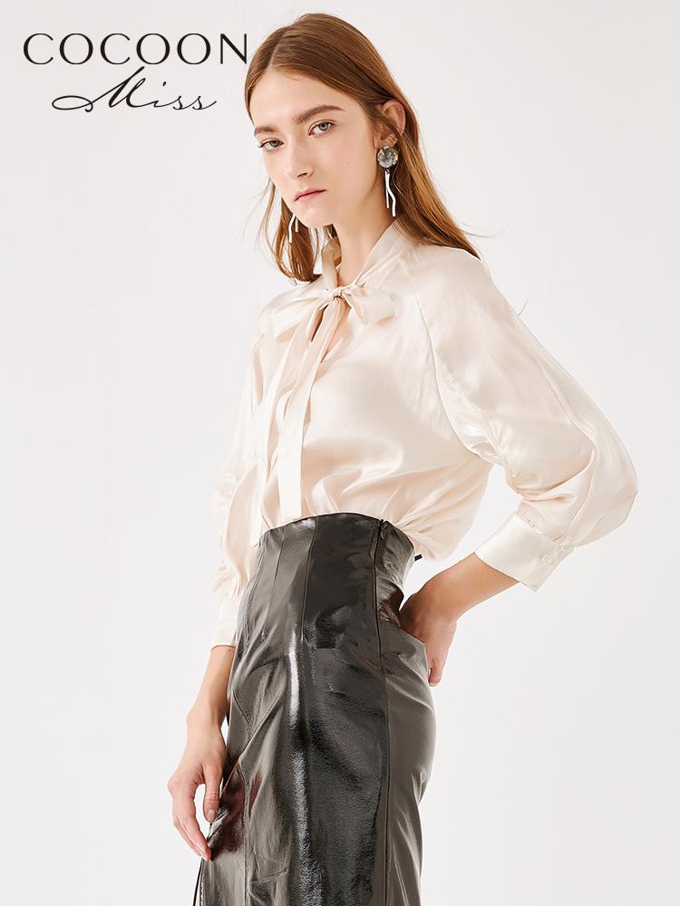 miss COCOON2018秋装新品女装宽松V领系带长袖纯色雪纺衫上衣