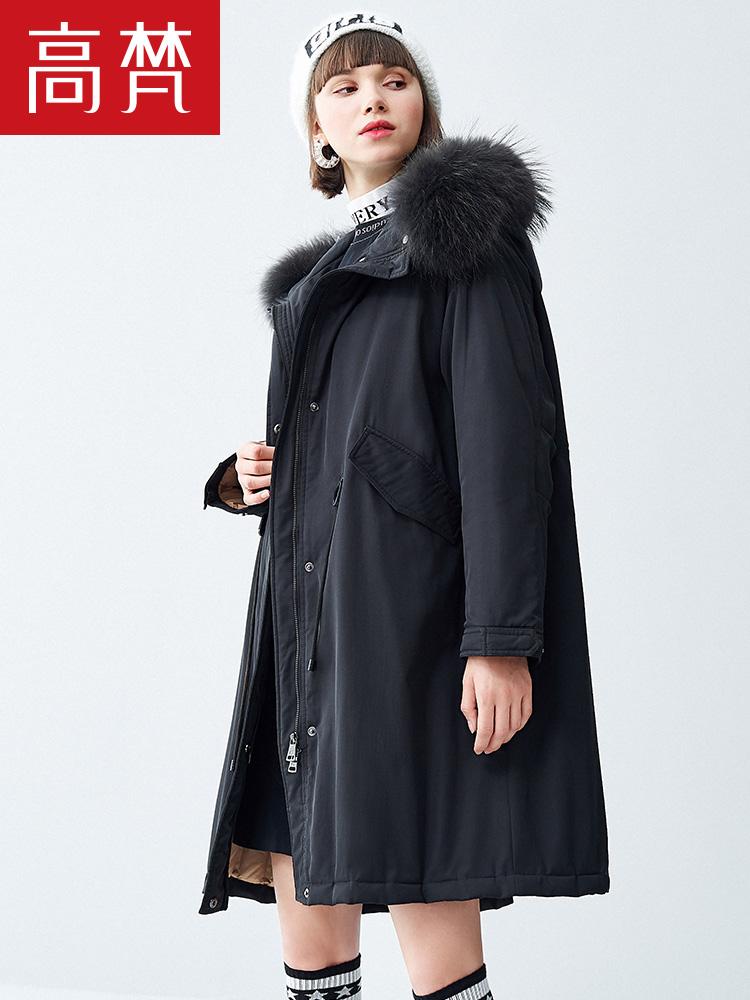 高梵2018新款羽绒服女中长款派克服貉子毛领韩版宽松休闲外套潮