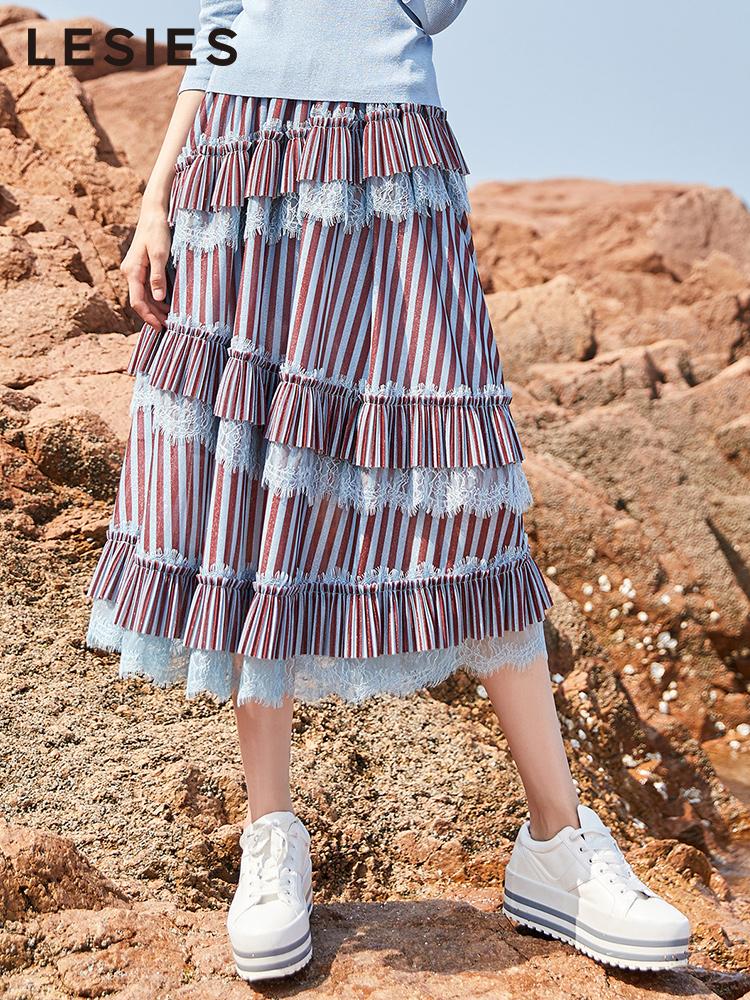 蓝色倾情2018秋装新款 chic半身裙女复古条纹不规则中长款蛋糕裙