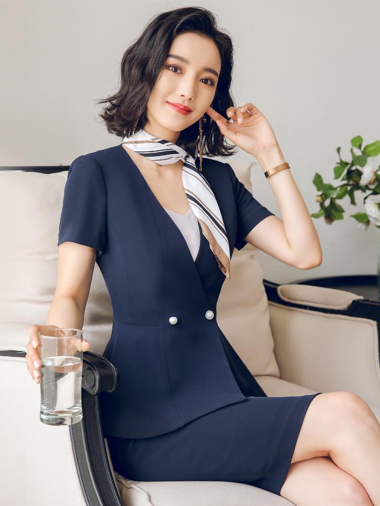 艾尚臣职业装女装套装夏装短袖套裙气质大码OL工装空姐制服工作服