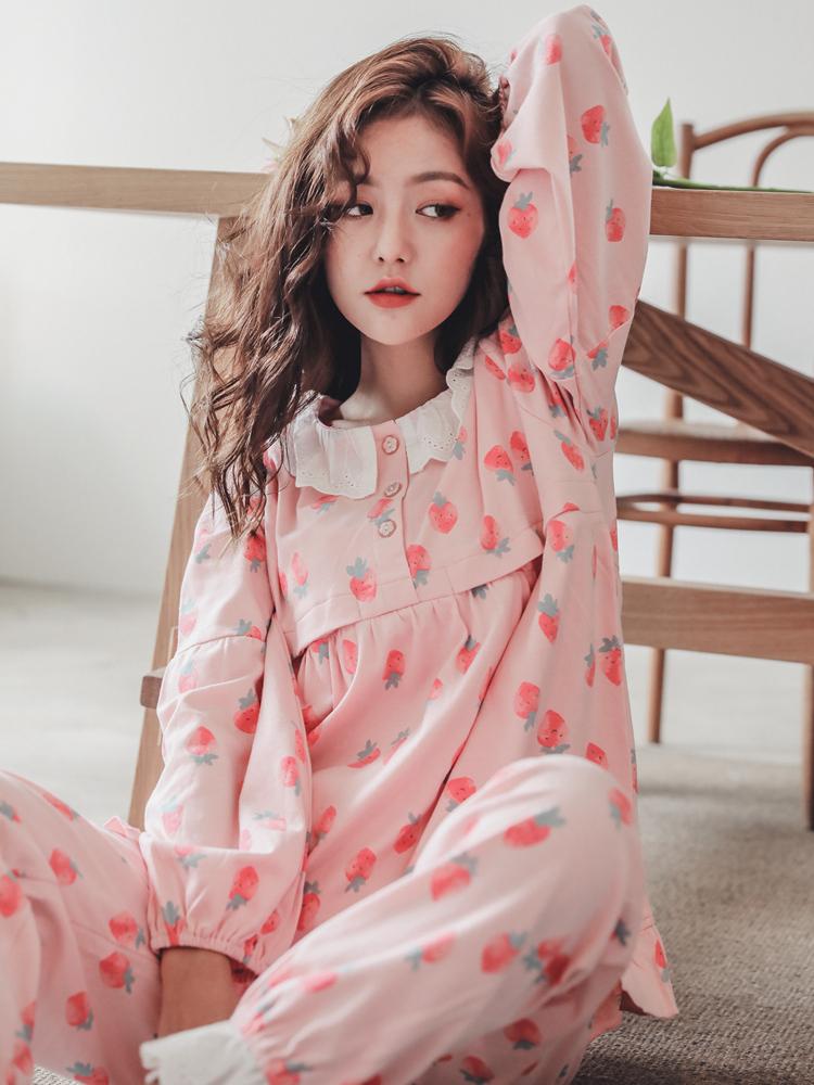 月子服春秋季纯棉产后孕妇睡衣喂奶哺乳衣秋冬款全棉家居服套装