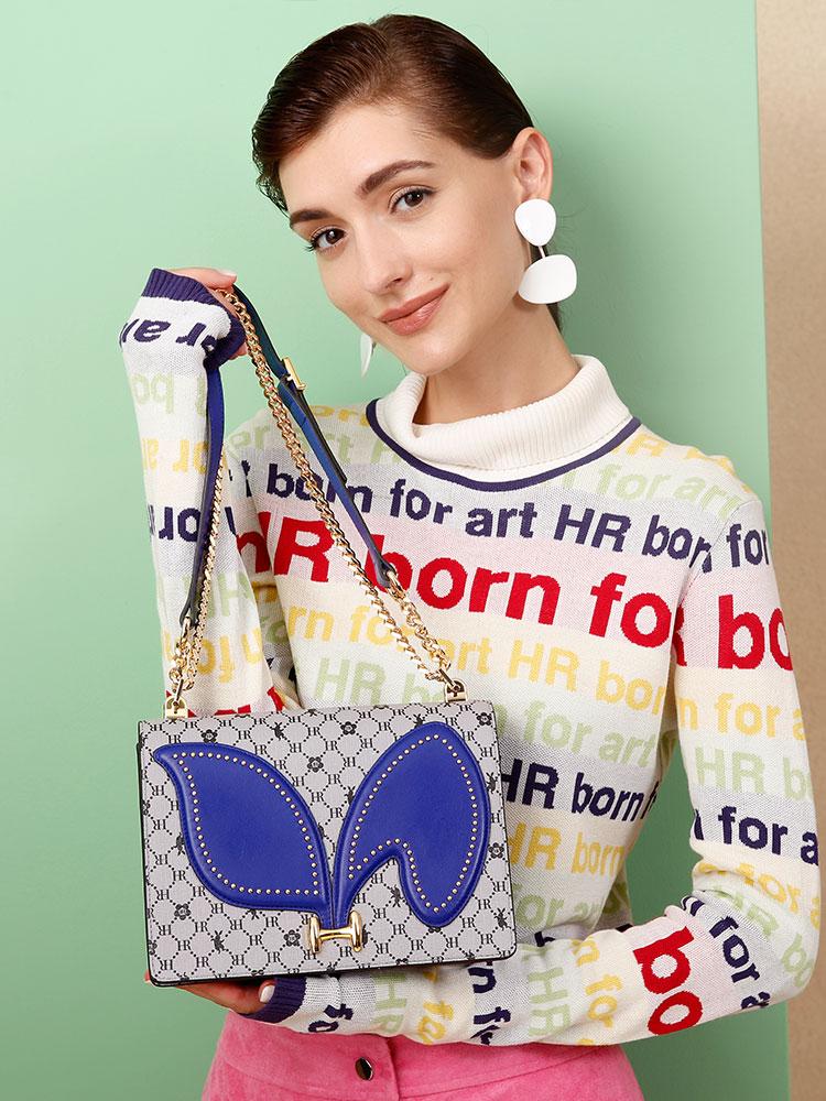 HR赫莲娜女包2018新款单肩包女斜挎包链条包休闲卡通小包包风琴包