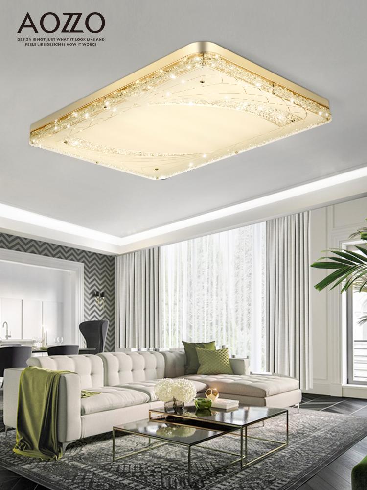 奥朵客厅灯简约现代长方形大气超薄led水晶创意个性家用吸顶灯具