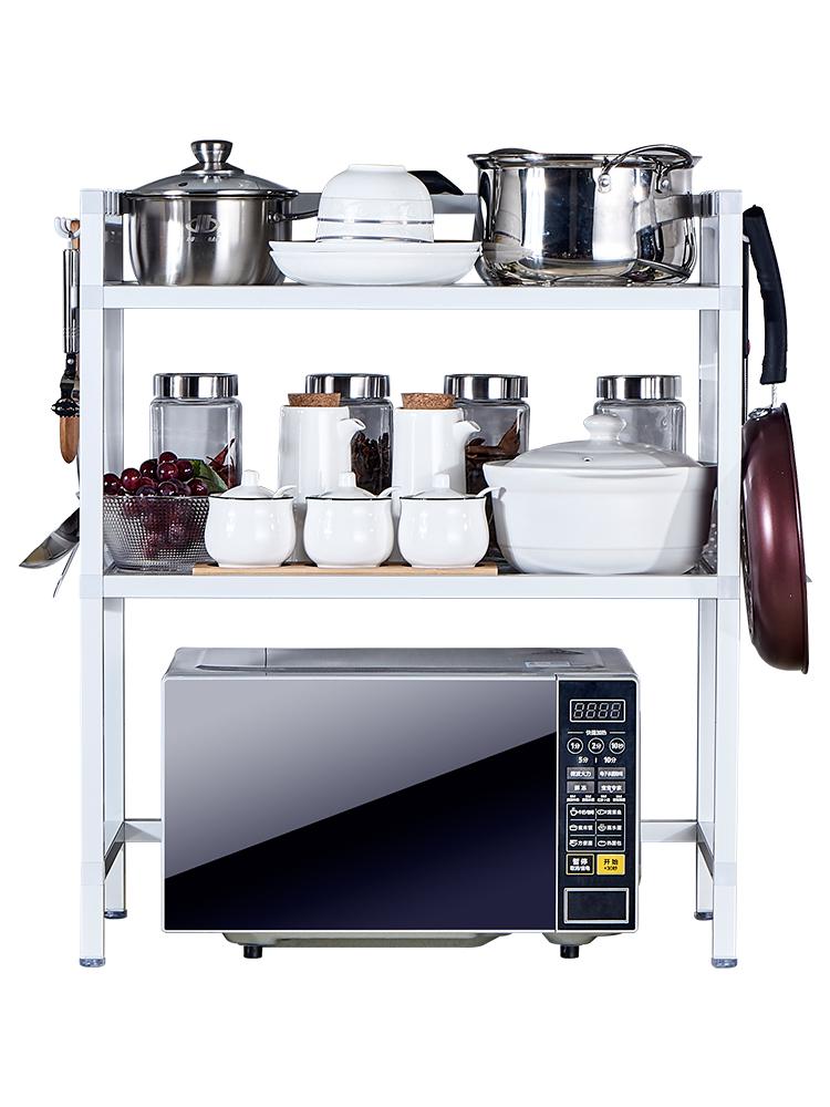 太空铝厨房置物架落地多层厨具微波炉烤箱收纳储物调料架子放锅架